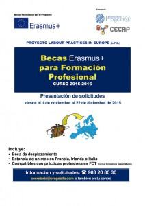 Cartel Becas Erasmus+ 2015-2016